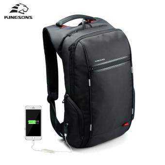Kingsons 15.6 inches City Elite Bag Designer Laptop BackpackExternal USB Charge Computer Bag Water-Resistant Anti-Theft LaptopRucksack Laptop Backpack for Men Women - Model B Black - intl