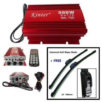 Kinter Amplifier 2 Channel Output 500Watts (MA-700) + Universal Soft Wiper Blade 16''400mm