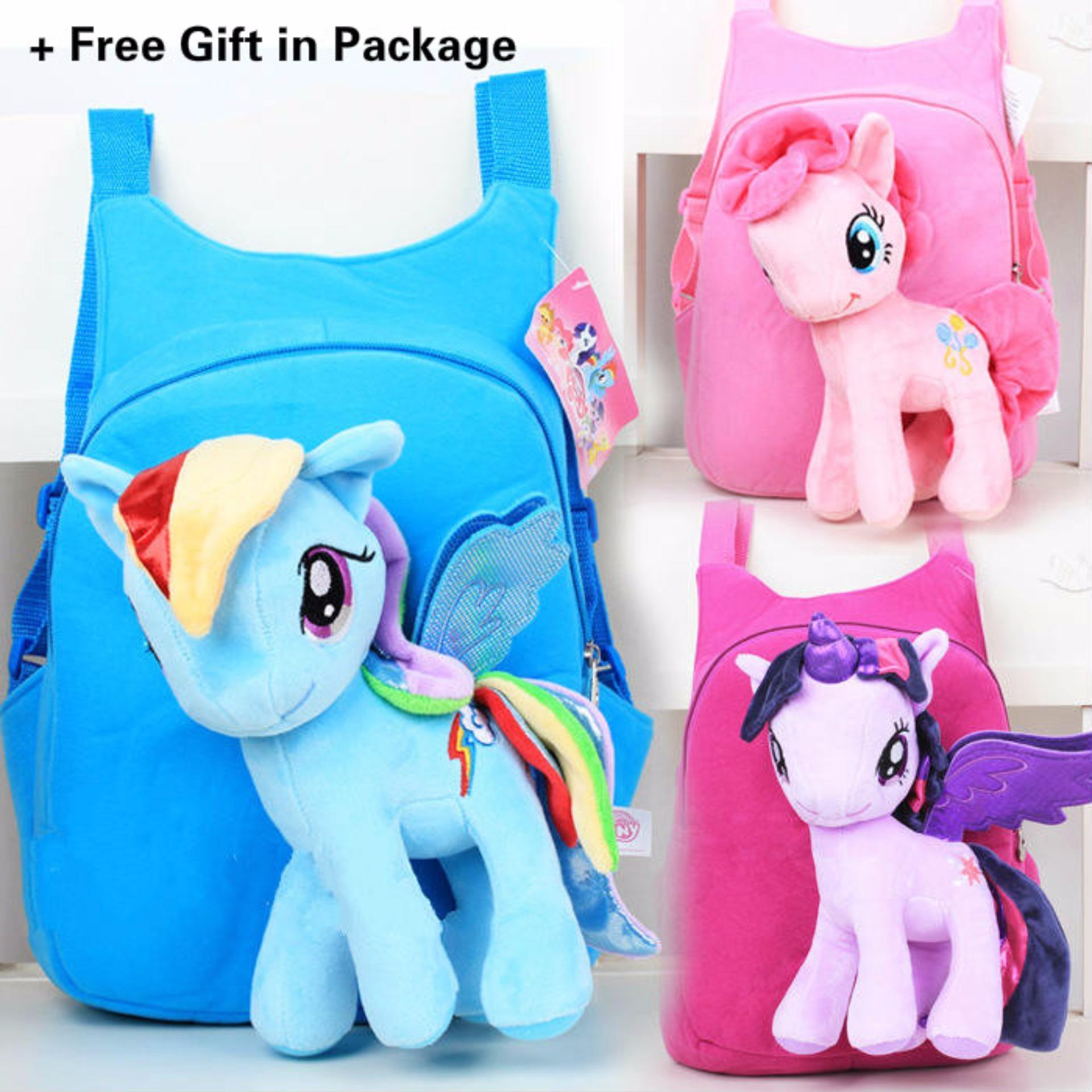 Kisnow 2 in 1 Kids Baby Super Soft Unicorn Plush Horse + School Travel Shoulder Bag Backpacks(Color:Purple) - intl