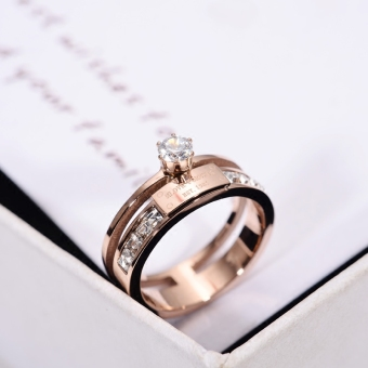 Korea Beijing titanium steel plated rose gold heart tail Ring (Diamond set 7 NO.)