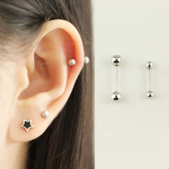 Korean style 925 sterling silver gold screw stud