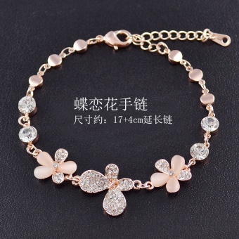 Korean-style purple cat eye stone crystal bracelet rose gold bracelet