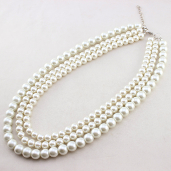 Korean-style three layer multi-layer choker imitation pearl necklace