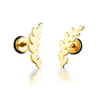 Korean Women Leaves Screw Earrings(Golden) - picture 2