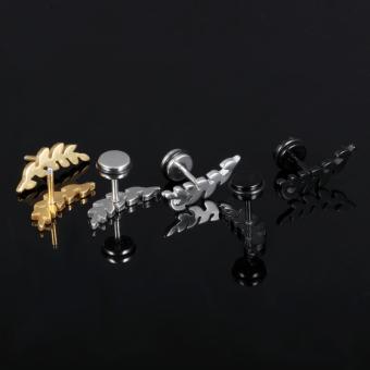Korean Women Leaves Screw Earrings(Golden)