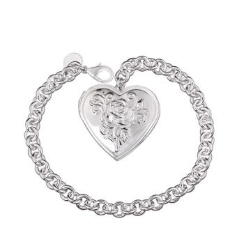 La Vie Sterling Silver Rose Carving Heart Chain Bracelet(Silver) Price Philippines