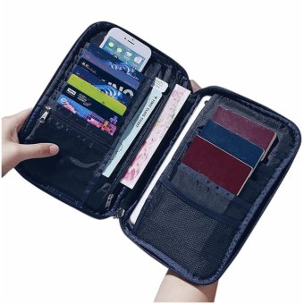 Large Passport Organiser Wallet Family Mens with Over 18 SlotsPockets for Travel Documents - Blue - intl - 3