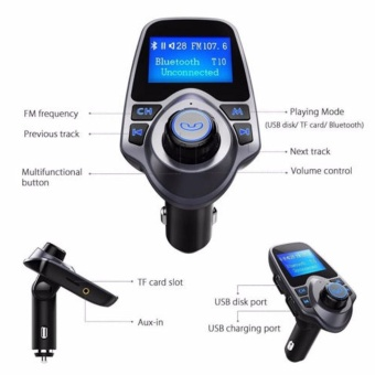 LCD Bluetooth Car MP3 Music Player Kit Auto Radio Audio StereoPlayer Hands-free FM Transmitter Extend MP3 USB SD MMC + 3.5mm AUX- intl - 5