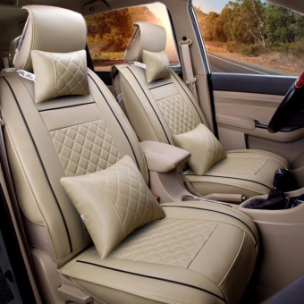 Leather Seat Cushion Covers,Front Rear Full Set for 5 Seats Car Beige Size S - intl
