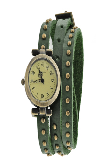 Leather Strap Roma Number Dial Quartz Woman Watch (Green)