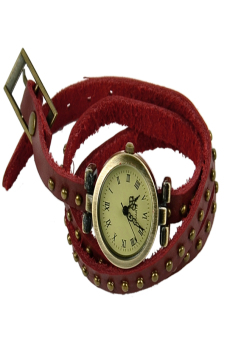 Leather Strap Roma Number Dial Quartz Woman Watch (Red) - picture 2