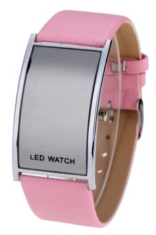 Leather Women Sports Wrist Watch Unisex LED Digital (Pink)