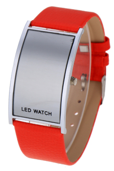Leather Women Sports Wrist Watch Unisex LED Digital (Red)