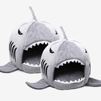 Leegoal Shark Warm Indoor Kitten Dog Cat Sofa Bed Puppy Pet HouseWith Mat (Gray,S) - intl