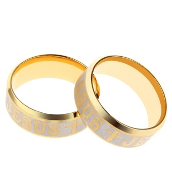 Letter Cross Embellishment Stainless Steel Rings for Men - intl - 3