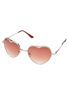 Linemart Heart Shape Sunglasses Rimless Frame Eyewear (Gold)
