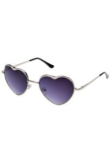 Linemart Heart Shape Sunglasses Rimless Frame Eyewear (Silver)