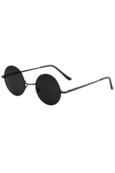 Linemart Retro Round Sunglasses (Black)