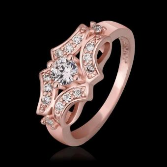 louiwill Fashion Hot Selling 18K Gold Ring Plated Hollow Out Retro Totem Flower Jewelry Rings Wholesale (Pink) - Intl