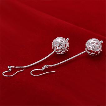 louiwill New 2015 Earrings 925 Silver Long Earrings Women Drop Earrings Party Fashion Brand Jewelry Gift (silver plated) (Intl) - picture 2