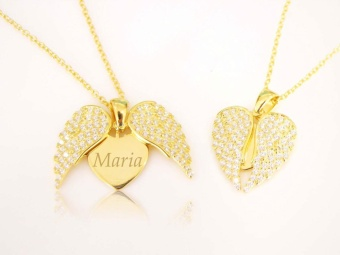 Love Gift Angel Wing Open Heart Necklace with Personalized Monogram Engrave Your Name on Flying Heart Necklace Gold Plated Zircon Diamond Setting Love Heart Necklace for Women's Fashion - intl