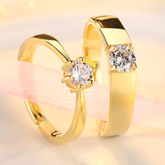 LOVE&HOME Adjustable Couple Rings Jewelry Affectionate LoversRings(Gold) JZ-13 - 2