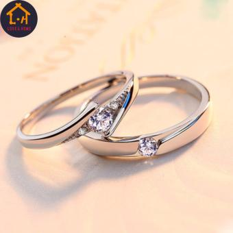 LOVE&HOME JZ-01 Zircon Diamond Lover Couple Rings (Silver) - 4