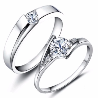 LOVE&HOME JZ-01 Zircon Diamond Lover Couple Rings (Silver) - 5