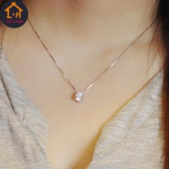 LOVE&HOME Silver Clavicle Chain Zircon Pendant Necklace - 2