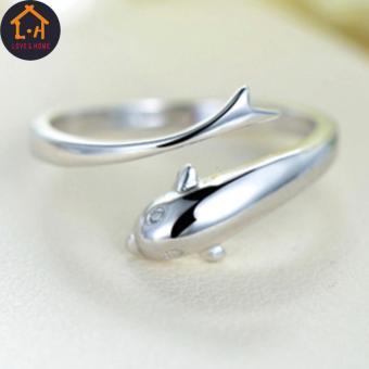 LOVE&HOME Silver Forever Dolphin Opening Adjustable Rings - 2