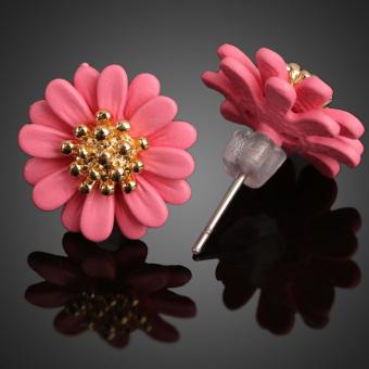 Lovely Daisy Design Earrings Earbob Eardrop Jewelry for Girl Woman Pink (Intl)