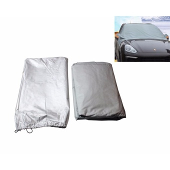 LUOWAN 2.4 x 1.8 x 1.5MUniversal Car Half Cover Windshield Sunscreen Waterproof Anti-UV Cloth Auto Front Thicken Snow Shade Half Car Cover UV Snow Dust Rain Resistant Cover for Cars SUVs - 4