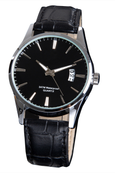 Luxury Leisure Leather Quartz Date Mens Wrist Watch (Black)