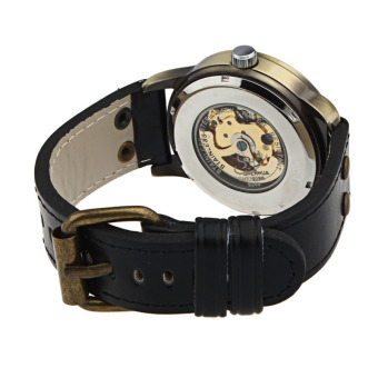 Luxury Man Bronze Leather Self-Winding Automatic Mechanical WristWatch (Bronze) - 2