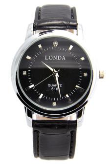 Luxury Men Sports Hour Leather Analog Wrist Quartz Watches Black