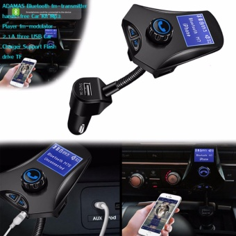 M7 Bluetooth FM-transmitter hands-free Car Kit Mp3 fm-modulator2.1A 3 USB port Support Flash drive TF (Black)