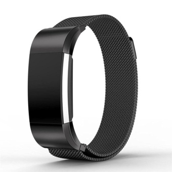 Magnetic Milanese Loop stainless steel For Fitbit charge 2Bandsmart bracelet for charge 2 strap with charge2 adapter Black -intl