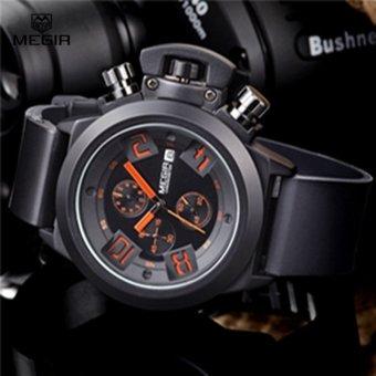 MEGIR 2002 Men Calendar Rubber Sport Quartz Watch Black - intl - 4