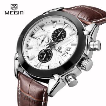 Megir Leather Strap Men's Watch 2020 (Brown) - 2