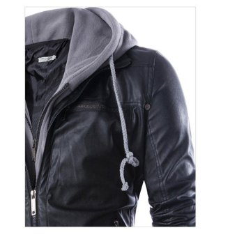 Men Hooded Slim Fake Two-pieces PU Leather Motorcycle Jackets -intl - 3
