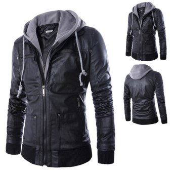Men Hooded Slim Fake Two-pieces PU Leather Motorcycle Jackets -intl