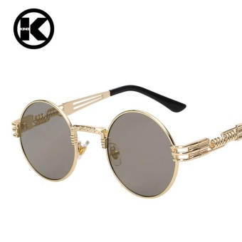 Men Round Sunglass Steampunk Coating Glasses Vintage Retro Outdoor Lentes Oculos of Male Sun - intl