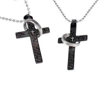 Men Women Cross Bible Stainless Steel Pendant Chain Necklace Black - intl