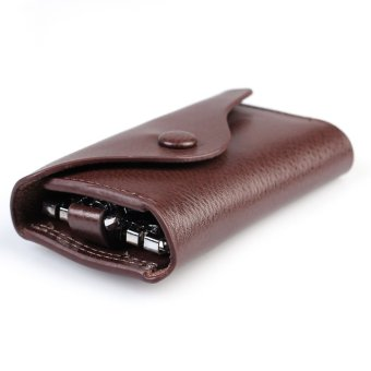 Men Women Leather Wallet Car Keychain Holder Accessory 6 Ring Pouch Purse Case(Brown) - Intl - picture 2
