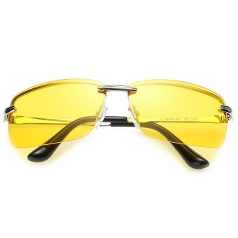 Men's Car Drivers Night Vision Goggles Anti-glare Polarizer Sunglasses Driving Sun Glasses With Cool Box+ Silk Glasses Cloth -Gold
