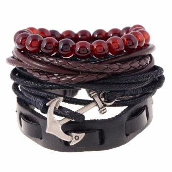 Men's Fashion Accessories Retro Style Leather Bracelet Jewelry (TZ007) - intl - 3