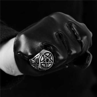 Men's Pentagram 316L Stainless Steel Ring Band Silver Black - 3