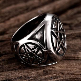 Men's Pentagram 316L Stainless Steel Ring Band Silver Black - 4