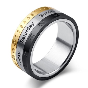 Men's Titanium Steel Tricolor Calendar Time Ring for Father's Day Gift - intl