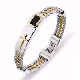 Men's Bracelet 3Rows Wire Chain Bracelets Bangles Fashion PunkStainless Steel Cross Bracelet Men Christian Men Jewelry - 5